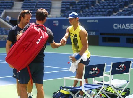 NEW YORK - AUGUST 22, 2017: Roger Federer and Rafael Nadal during practice for US Open 2017 at Billie Jean King National Tennis Center in New York
