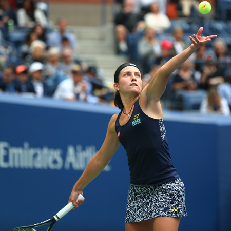 NEW YORK - SEPTEMBER 3, 2017: Professional tennis player Anastasija Sevastova of Latvia in action during her 2017 US Open round 4 match against Maria Sharapova at Billie Jean King National Tennis Center in New York
