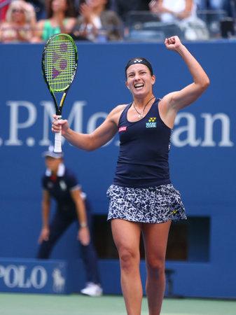 NEW YORK - SEPTEMBER 3, 2017: Professional tennis player Anastasija Sevastova of Latvia celebrates victory after her 2017 US Open round 4 match against Maria Sharapova
