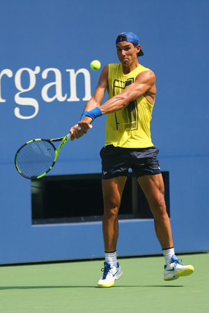 NEW YORK - AUGUST 22, 2017: Fifteen times Grand Slam Champion Rafael Nadal of Spain practices for US Open 2017 at Billie Jean King National Tennis Center in New York