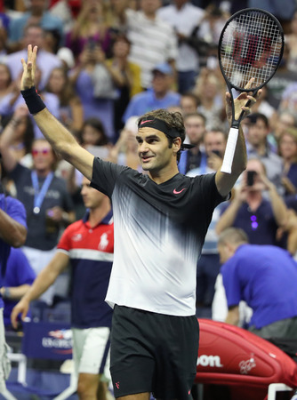NEW YORK - SEPTEMBER 4, 2017: Grand Slam champion Roger Federer of Switzerland celebrates victory after his US Open 2017 round 4 match at Billie Jean King National Tennis Center