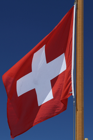 Flag of Switzerland flying high