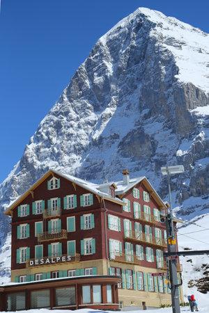 KLEINE SCHEIDEGG, SWITZERLAND - MAY 5, 2017: View of the Bellevue des Alpes Hotel. This resort located in the Swiss Alps of canton Bern and famous for ski racing Lauberhornrennen