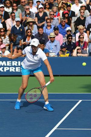 NEW YORK - SEPTEMBER 10, 2017: Grand Slam champion Martina Navratilova during Women's Champions Doubles match at US Open 2017 at National Tennis Center in New York