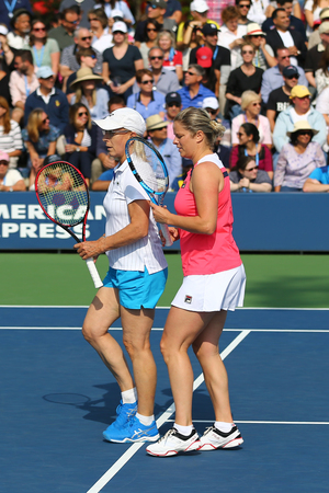NEW YORK - SEPTEMBER 10, 2017: Grand Slam champions Martina Navratilova and Kim Clijsters during Women's Champions Doubles match at US Open 2017 at National Tennis Center in New York
