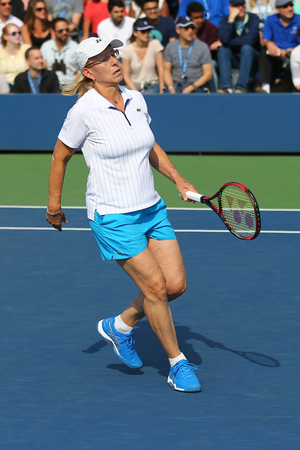 NEW YORK - SEPTEMBER 10, 2017: Grand Slam champion Martina Navratilova during Womens Champions Doubles match at US Open 2017 at National Tennis Center in New York