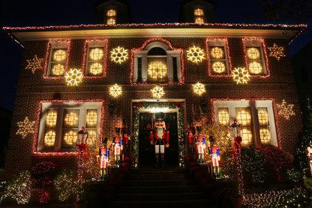 BROOKLYN, NEW YORK - NOVEMBER 28, 2017: Christmas house decoration lights display in the suburban Brooklyn neighborhood of Dyker Heights