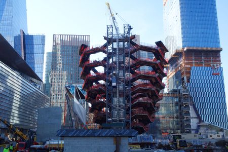NEW YORK - NOVEMBER 28, 2017: Vessel, the centerpiece of the Public Square and Gardens at Hudson Yards,  began to rise on Manhattan's West Side, marking the start of construction of this new landmark Editorial