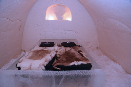 ROVANIEMI, FINLAND - FEBRUARY 16, 2017: Suite at Arctic Snow Hotel in Finnish Lapland. Arctic SnowHotel is located on the Arctic Circle in Finnish Lapland.