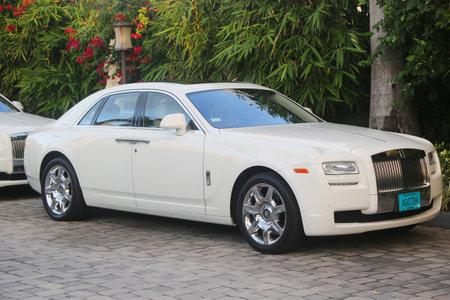 NASSAU, BAHAMAS - DECEMBER 5, 2017: Rolls-Royce luxury car in front of Sandals Royal Bahamian Resort  in Nassau, Bahamas.