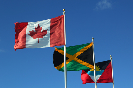 International Flags: Antigua and Barbuda, Canada and  Jamaica Stock Photo