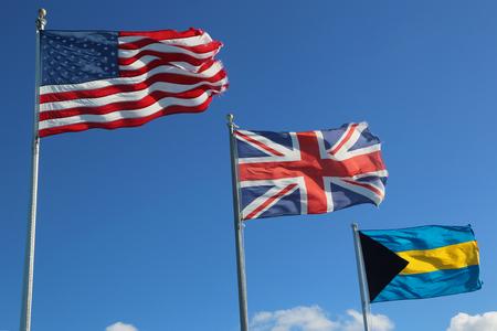 International Flags: United States, United Kingdom and Bahamas