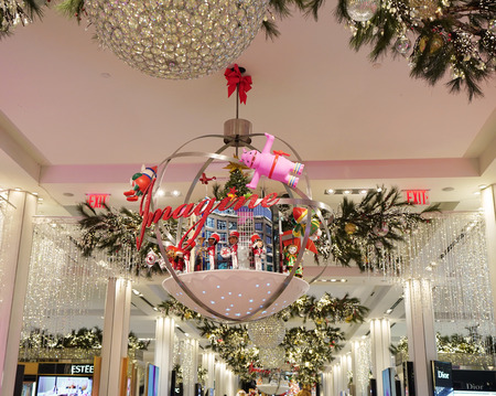 new york december 12 2017 christmas decor with believe campaign theme at macys