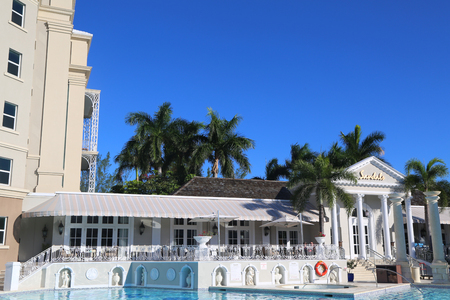 NASSAU, BAHAMAS - DECEMBER 3, 2017: The Sandals Royal Bahamian Luxury Resort in Nassau, Bahamas