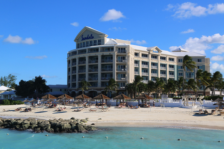 NASSAU, BAHAMAS - DECEMBER 3, 2017: The Sandals Royal Bahamian Luxury Resort in Nassau, Bahamas