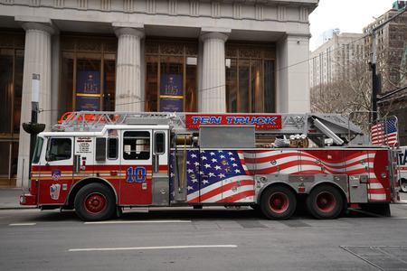 NEW YORK - DECEMBER 12, 2017: FDNY Ladder 10 in lower Manhattan. FDNY is the largest combined Fire and EMS provider in the world Editorial