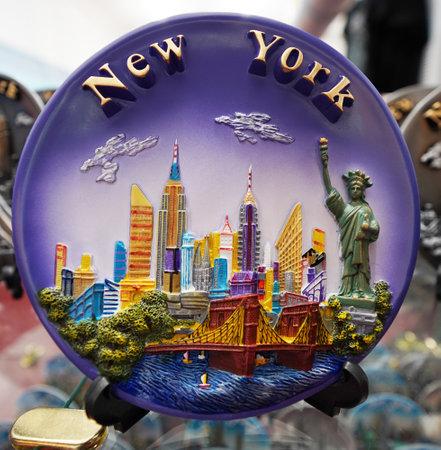 NEW YORK - DECEMBER 12, 2017: New York City souvenirs on display in Manhattan Editorial