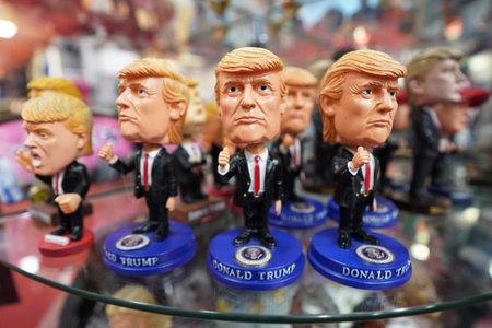 NEW YORK - DECEMBER 12, 2017: Donald Trump bobble head on display in Manhattan Editorial
