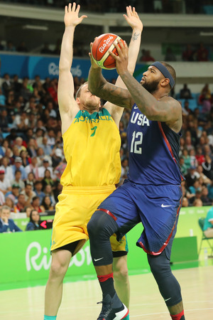 RIO DE JANEIRO, BRAZIL - AUGUST 10, 2016: Cousins Demarcus of team United States in action during group A basketball match between Team USA and Australia of the Rio 2016 Olympic Games at Carioca Arena 1