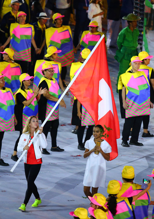 RIO DE JANEIRO, BRAZIL - AUGUST 5, 2016: Olympic team Switzerland marched into the Rio 2016 Olympics opening ceremony at Maracana Stadium in Rio de Janeiro Editorial