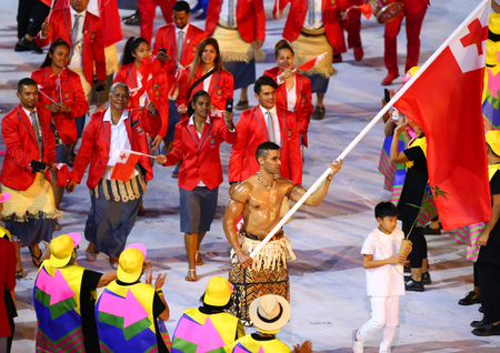 RIO DE JANEIRO, BRAZIL - AUGUST 5, 2016: Olympic team Tonga marched into the Rio 2016 Olympics opening ceremony at Maracana Stadium in Rio de Janeiro Editorial