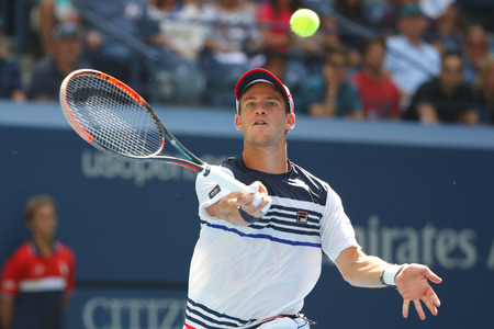 NEW YORK - SEPTEMBER 5, 2017: Professional tennis player Diego Schwartzman of Argentina in action during his quarterfinal match at US Open 2017 at Billie Jean King National Tennis Center Editorial