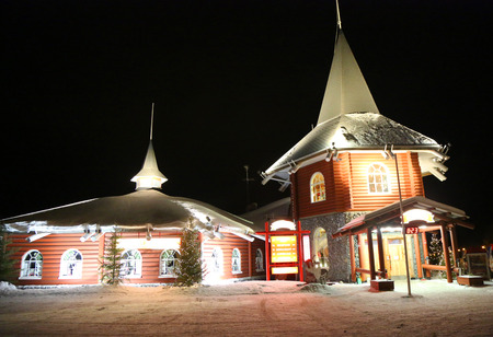 ROVANIEMI, FINLAND - FEBRUARY 17, 2017: Santa Claus office in the Santa Claus Village in Rovaniemi in the Lapland region of Finland. It is an amusement park opened in 1985. Stock Photo - 92634589
