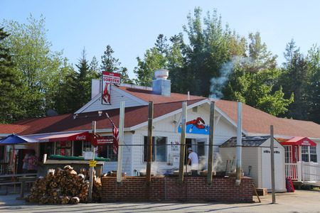 TRENTON, MAINE - JULY 2, 2017: Traditional lobster pound restaurant in Maine. It is a famous location in Down East Maine with a long history of lobstering Editorial