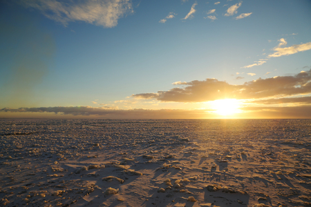 Ice field with crushed ice in Baltic Sea Archivio Fotografico
