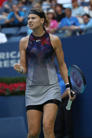 NEW YORK - SEPTEMBER 4, 2017: Professional tennis player Lucie Safarova of Czech Republic in action during her US Open 2017 round 4 match at Billie Jean King National Tennis Center