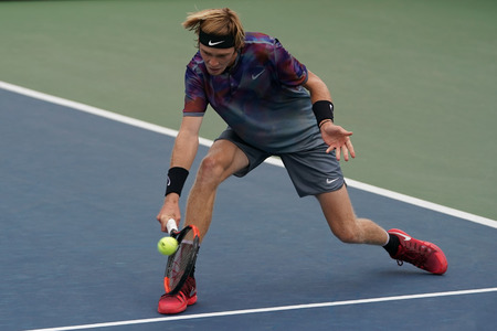 NEW YORK - SEPTEMBER 2, 2017: Professional tennis player Andrey Rublev of Russia in action during his US Open 2017 third round match at Billie Jean King National Tennis Center