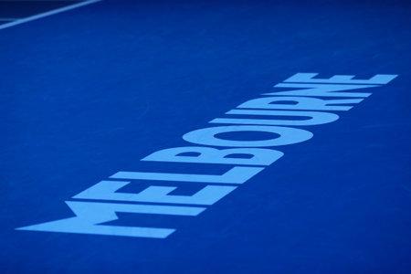 MELBOURNE, AUSTRALIA - JANUARY 30, 2016: Iconic Melbourne sign at Rod Laver Arena at Australian tennis center in Melbourne Park