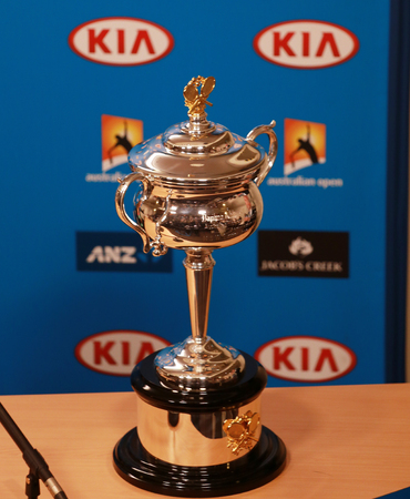 MELBOURNE, AUSTRALIA - JANUARY 31, 2016: Daphne Akhurst Memorial Cup presented during press conference women final at Australian Open 2016 at Australian tennis center in Melbourne Park