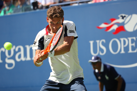NEW YORK - SEPTEMBER 5, 2017: Professional tennis player Pablo Carreno Busta of Spain in action during his quarterfinal match at 2017 US Open at Billie Jean King National Tennis Center in New York