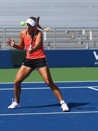 NEW YORK - AUGUST 23, 2017: Grand Slam champion Angelique Kerber of Germany practices for US Open 2017 at Billie Jean King National Tennis Center in New York Editorial