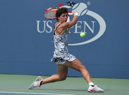 NEW YORK - SEPTEMBER 5, 2016: Professional tennis player Carla Suarez Navarro of Spain in action during her 2016 US Open round 4 match at Billie Jean King National Tennis Center in New York