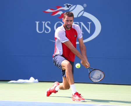 NEW YORK - AUGUST 26, 2017: Grand Slam Champion Marin Cilic of Croatia practices for 2017 US Open at Billie Jean King National Tennis Center