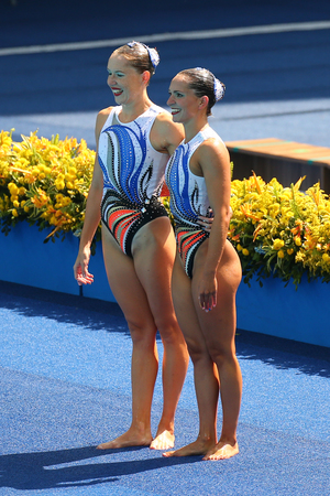 RIO DE JANEIRO, BRAZIL - AUGUST 15, 2016: Anastasia Gloushkov and Ievgeniia Tetelbaum of Israel compete during the synchronized swimming duet technical routine preliminary round at the 2016 Olympics