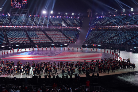 PYEONGCHANG, SOUTH KOREA  FEBRUARY 9, 2018: American Olympic team marched into the PyeongChang 2018 Olympics opening ceremony at Olympic  Stadium in PyeomgChang, South Korea Редакционное