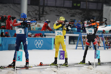 PYEONGCHANG, SOUTH KOREA FEBRUARY 18, 2018: Olympic champion Martin Fourcade of France number 2 L competes in the biathlon men`s 15km mass start at the 2018 Winter Olympics in Alpensia Biathlon Centre Sajtókép
