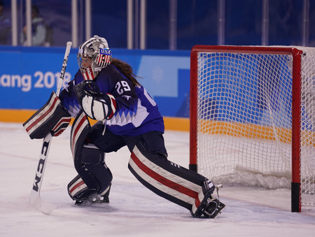 KWANDONG, SOUTH KOREA - FEBRUARY 13, 2018: Olympic champion Team USA goalkeeper Nicole Hensley in action against Team Olympic Athlete from Russia during Womens ice hockey preliminary round game Editorial