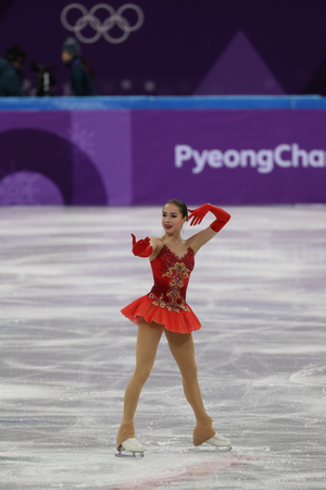 GANGNEUNG, SOUTH KOREA - FEBRUARY 12, 2018: Olympic champion Alina Zagitova of Olympic Athlete from Russia performs in the Team Event Ladies Single Skating Free Skating at the 2018 Winter Olympics Editorial