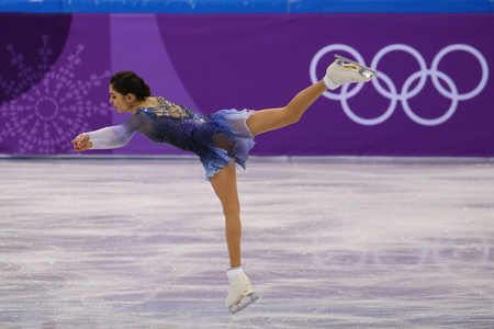 GANGNEUNG, SOUTH KOREA - FEBRUARY 11, 2018: Silver medalist Evgenia Medvedeva of Olympic Athlete from Russia performs in the Team Event Ladies Single Skating Short Program at the 2018 Winter Olympics Editorial