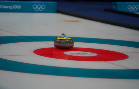 GANGNEUNG, SOUTH KOREA - FEBRUARY 10, 2018: Inside of the Gangneung Curling Center during the Mixed Doubles Round Robin Session at the 2018 Winter Olympics Editorial