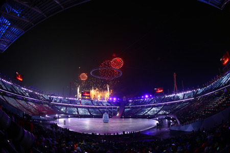 PYEONGCHANG, SOUTH KOREA - FEBRUARY 9, 2018: The 2018 Winter Olympics Opening Ceremony. Olympic Games 2018 officially opened with a colorful ceremony at the Olympics Stadium in PyeongChang, South Korea