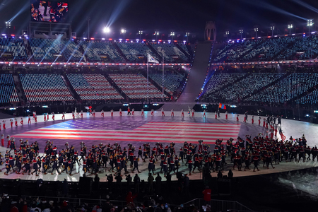 PYEONGCHANG, SOUTH KOREA - FEBRUARY 9, 2018: American Olympic team marched into the PyeongChang 2018 Olympics opening ceremony at Olympic Stadium in PyeongChang, South Korea