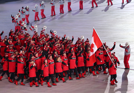 PYEONGCHANG, SOUTH KOREA - FEBRUARY 9, 2018: Canada Olympic team marched into the PyeongChang 2018 Olympics opening ceremony at Olympic Stadium in PyeongChang, South Korea