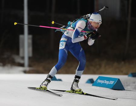 PYEONGCHANG, SOUTH KOREA - FEBRUARY 12, 2018: Kaisa Makarainen of Finland competes in biathlon womens 10 km pursuit at the 2018 Winter Olympics in Alpensia Biathlon Centre Editorial