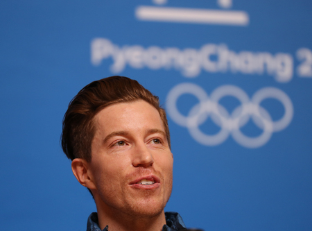 PYEONGCHANG, SOUTH KOREA - FEBRUARY 14, 2018: Olympic champion Shaun White during press conference after his victory in the mens snowboard halfpipe final at the 2018 Winter Olympics