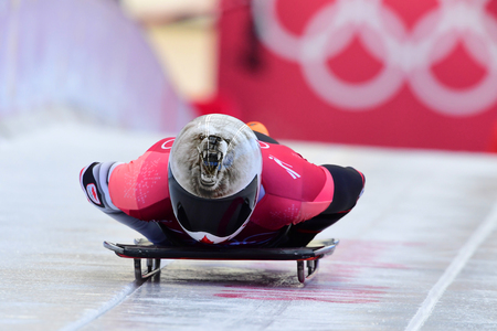 PYEONGCHANG, SOUTH KOREA - FEBRUARY 14, 2018: Dave Greszczyszyn of Canada competes in the Skeleton Men Official Training Heat at the 2018 Winter Olympics in PyeongChang, South Korea